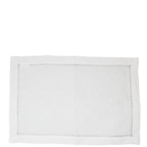 linen detailed hemstitched placemat white