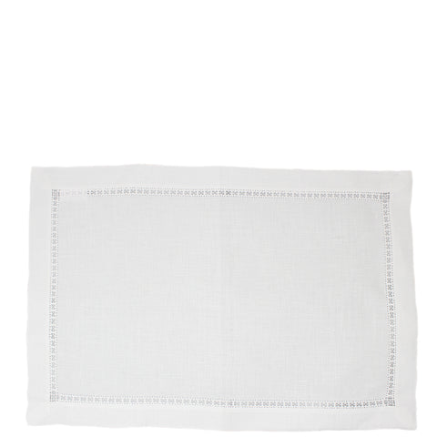 linen placemat detailed hemstitched white