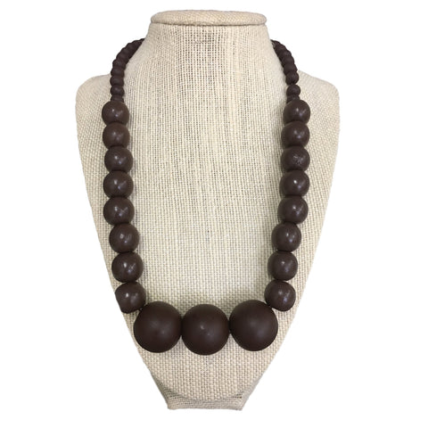 moyo burgundy handmade wooden bead necklace
