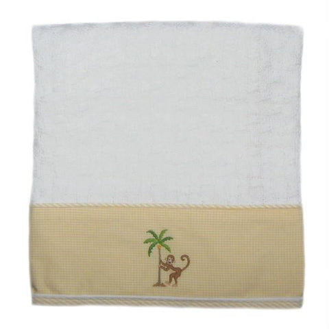 on safari baby blanket with beige trim