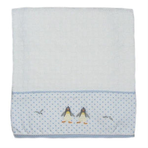 cotton baby blanket penguin beach party with blue trim