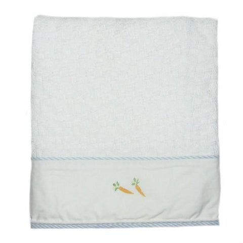 cotton baby blanket peter rabbit with blue trim