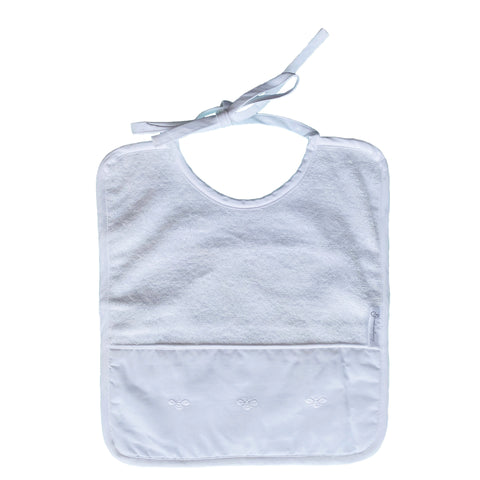 white baby bee terry bib