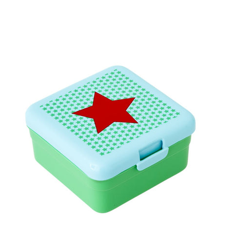 Kids Small Lunch Box in Green Star Print