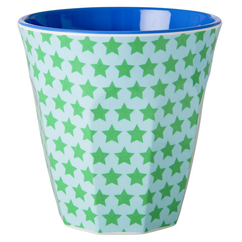 Medium Melamine Green and Blue Stars Print Cup