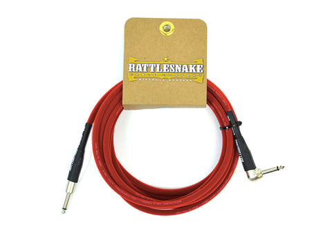 Rattlesnake Cable Company Standard 15 Foot Cable Straight to Right Angle Plugs - Red