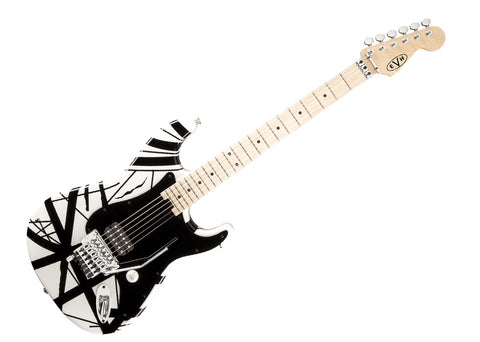 EVH Wolfgang Striped Series Electric Guitar - White with Black Stripes/Maple - 5107902576