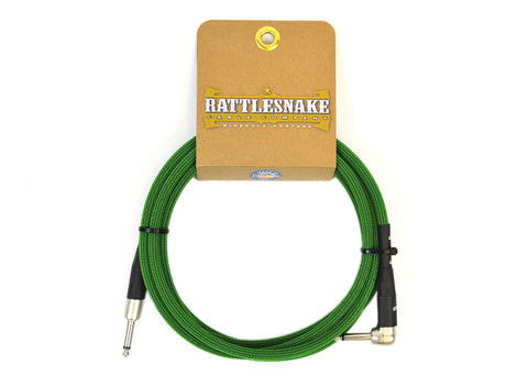 Rattlesnake Cable Company Standard 10 Foot Cable Straight to Right Angle Plugs - Mean Green