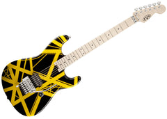 EVH Striped Series Electric Guitar - Black with Yellow Stripes/Maple - 5107902528 Gently Used