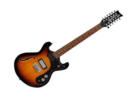 Danelectro 66 12 String Semi Hollow Body Electric Guitar Transparent 3 Tone Sunburst - D66 12