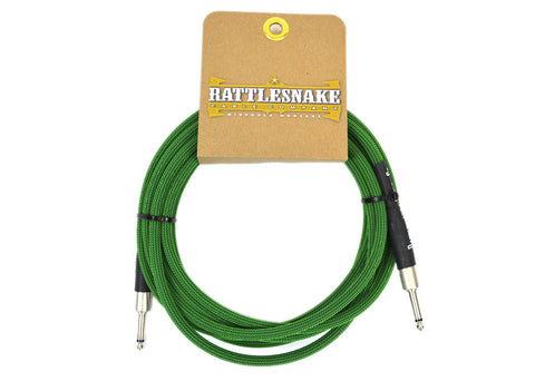 Rattlesnake Cable Company Standard 15 Foot Cable Straight to Straight Plugs - Mean Green