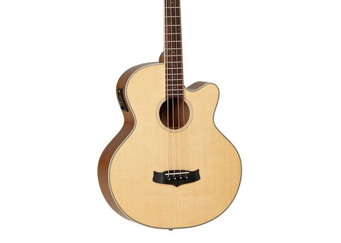 Tanglewood Roadster Series Folk Cutaway Style Hollow Body Acoustic-Electric Bass Guitar - Blackwood/Natural Gloss Finish
