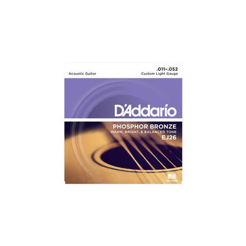 D'Addario EJ26 Phosphor Bronze Acoustic Guitar Strings Custom Light Gauge 11-52
