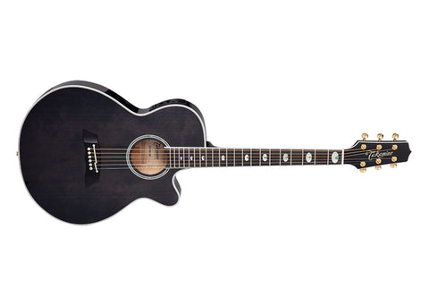 Takamine Guitars Thinline Series Acoustic Guitars w/ semi-hard case - Ebony/See Thru Black Gloss Finish - TSP158CSBL