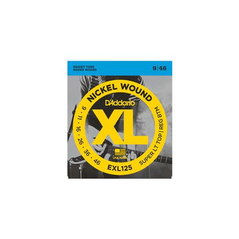 D'Addario EXL125 Nickel Wound Electric Guitar Strings Super Light Top/Regular Bottom 9-46