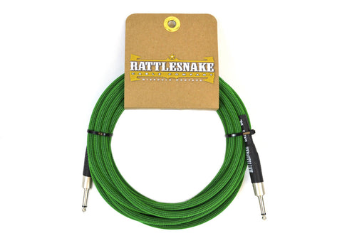 Rattlesnake Cable Company Standard 20 Foot Cable Straight to Straight Plugs - Mean Green