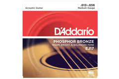 D'Addario EJ17 Phosphor Bronze Acoustic Guitar Strings Medium Gauge 13-56 Clearance