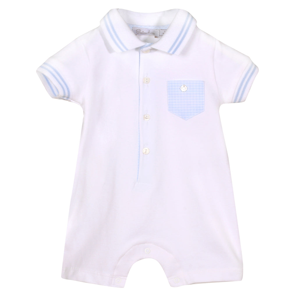 Patachou 084 Boys White Cotton Romper