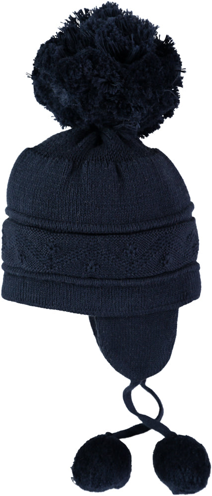 Emile et Rose Griffin Navy Knit Bobble Hat