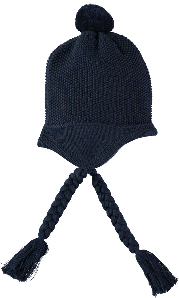 Emile et rose 4740 Lindsay Navy Knit Hat with Plaits