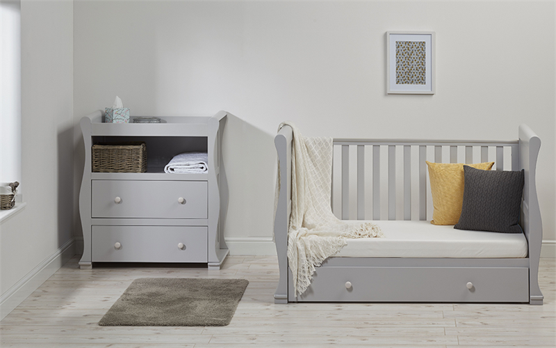 Ruby SLEIGH COT BED WITH DRAWER GREY