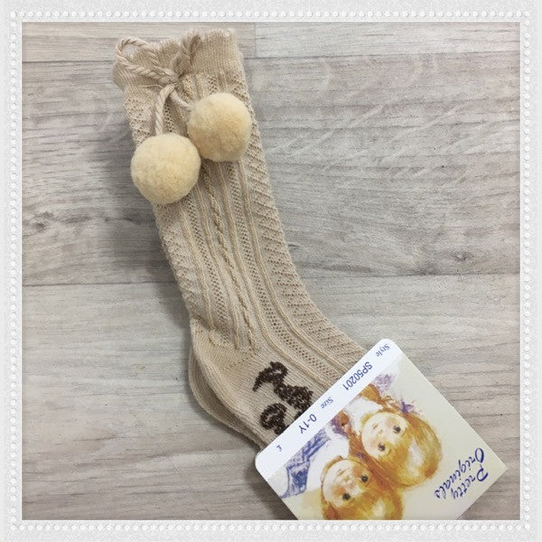 Pretty Originals Camel Knee High Pom Pom Socks