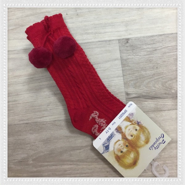 Pretty Originals Red Pom Pom Knee High Socks