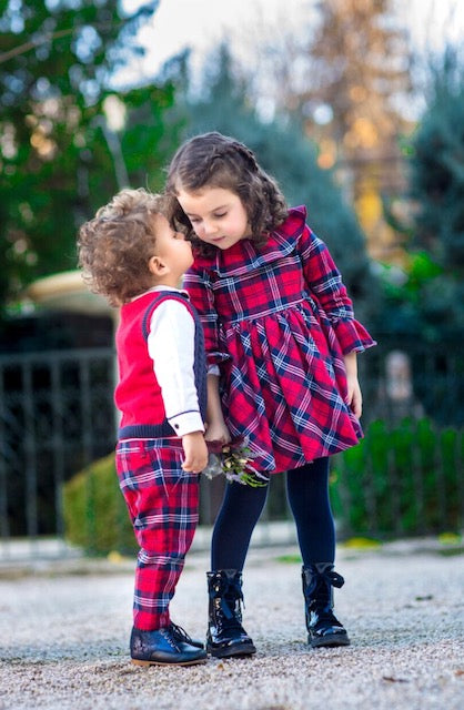Tutto Piccolo 5232 Red Tartan Dress
