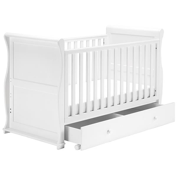 SLEIGH COT BED WITH DRAWER WHITE