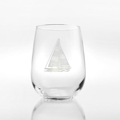 Sailboat Stemless Wine Tumbler 17oz (Set of 4)