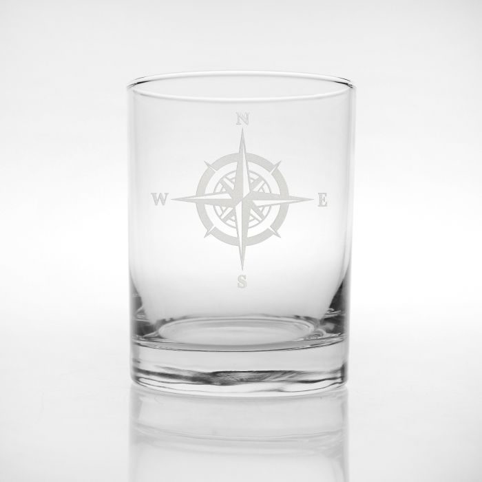 Compass Rose Double Old-Fashioned Glass 14oz (Set of 4)