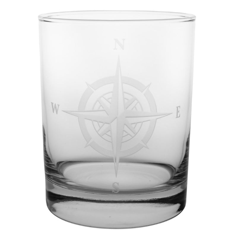 Compass Rose Double Old Fashioned 14oz (Set of 4)