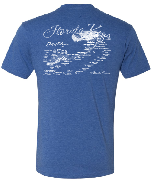 Map Of Florida Keys.Florida Keys Map T Shirt Largo Cargo Co