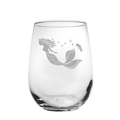Mermaid Stemless Wine Glass 17oz (Set of 4)