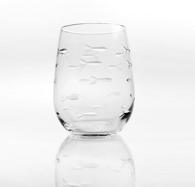 School of Fish Stemless Wine Tumbler 17oz (Set of 4)