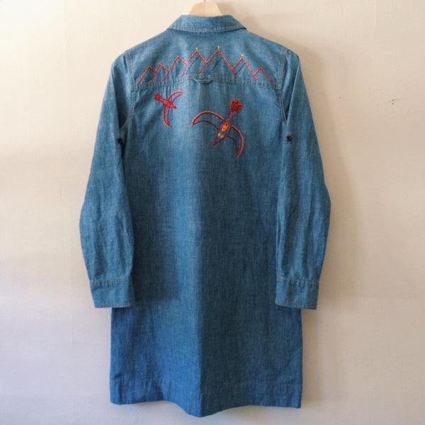 Nightbird Hand-Embroidered Denim Shirt