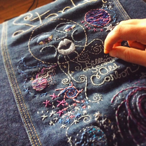 WE ARE STARDUST Hand-Embroidered Vintage Denim Jacket