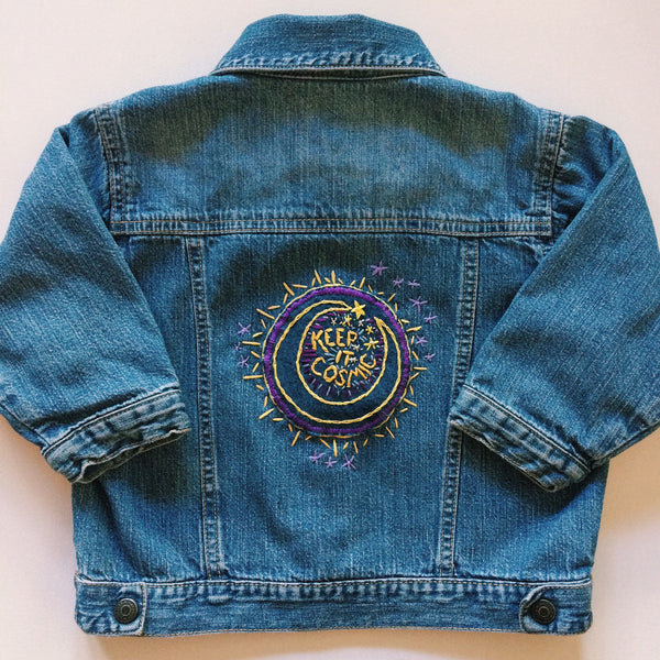Keep It Cosmic Hand-Embroidered Denim Baby Jacket