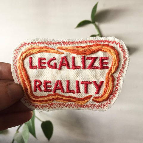 LEGALIZE REALITY Hand-Embroidered Canvas Patch