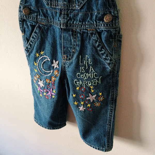 Cosmic Garden Baby Size Embroidered Denim Overalls