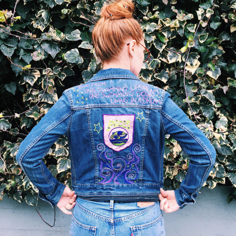 PISCES Zodiac Hand-Embroidered Vintage Denim Jacket
