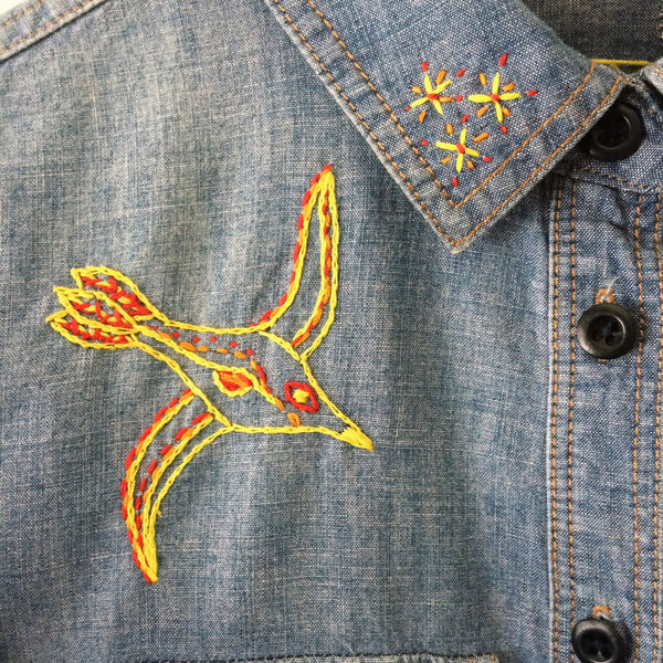 Dreams of Flying Hand Embroidered Denim Tunic.  Size Small. One of a Kind and Ready to Ship