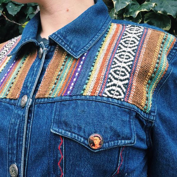 WOLF MOON Hand-Embroidered Vintage Denim Jacket