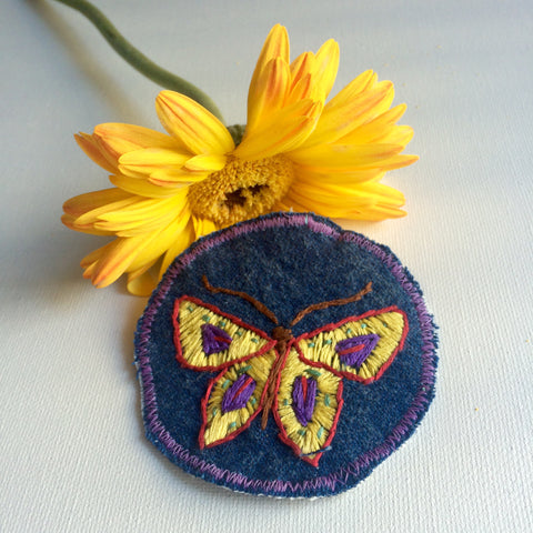 Butterfly Hand-Embroidered Denim Patch