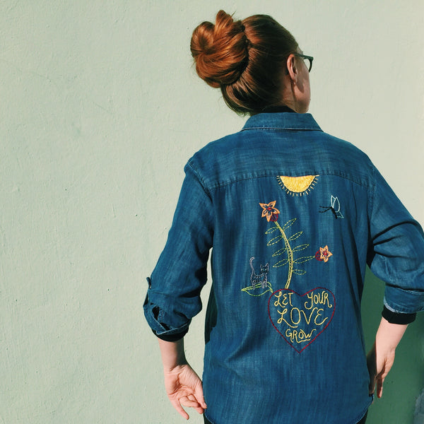 LET YOUR LOVE GROW Hand-Embroidered Denim Shirt