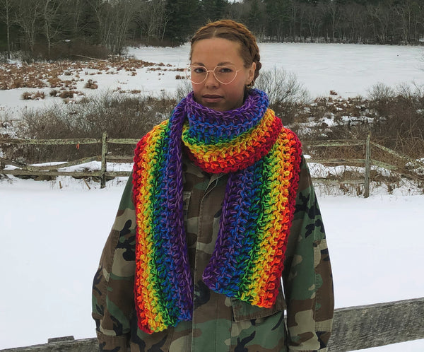 Longest Most Intense Supersonic Rainbow Scarf - One of a Kind and Ready to Ship