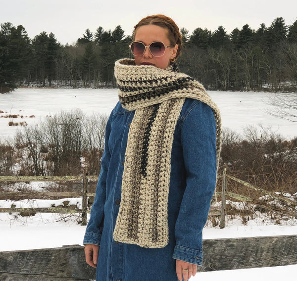 Neutral Territory. One of a Kind Extra Long Scarf. Ready to Ship