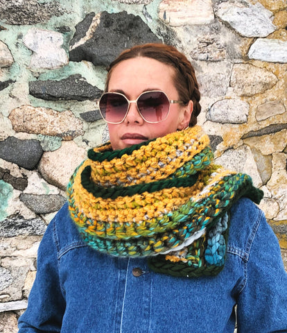 Wear Your Greens. One of a Kind Extra Long Scarf. Ready to Ship