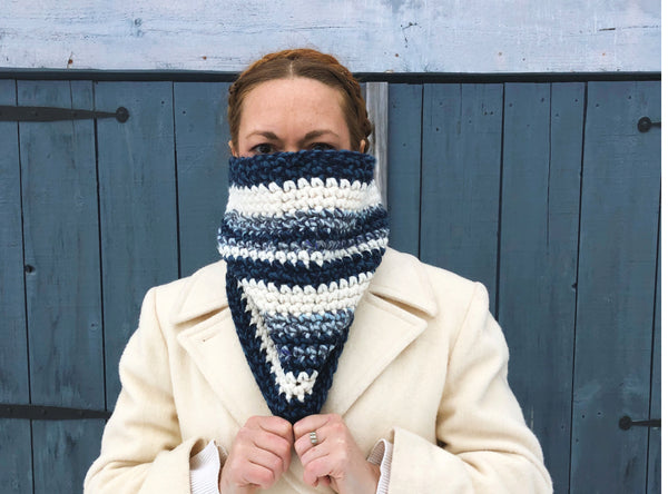 Royal Blue and Winter White Cowl Scarf