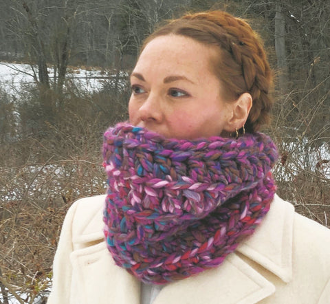 Fluffy Puffy Purple Cowl. One of a kind. Ready to Ship